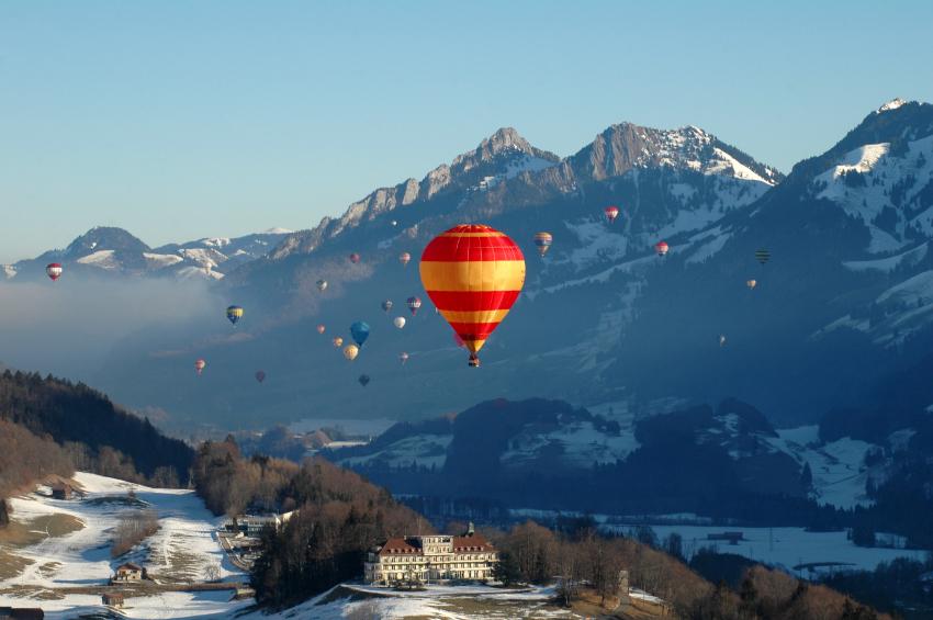 Hot air balloons Swiss alps